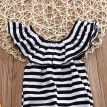 Kids Toddler Baby Girls Ruffles Striped Romper Bodysuit Outfits Clothes Sets 0-24M