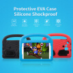 Protective EVA Case for Samsung 7inch Tab Silicone Shockproof Handle Case Screen Protector for Kids (Red)