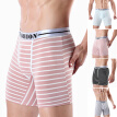Men Striped Cotton Boxer Briefs Shorts Sporting Underpants Sleepwear Underwears