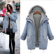 Roseonmyhand Winter Women Warm Collar Hooded Coat Jacket Denim Trench Parka Outwear