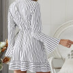 Women Temperament Deep V Vertical Striped Lace Mid-length Long Sleeve Waist Bow Tie Casual Dress