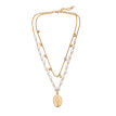 Tocona Layered Vintage Pearl Necklace Gold  Pendant Long Choker for Women God statement Necklace Jewelry Accessories 8027