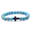 Vintage Natural Stone 18 Colors Cross Charms Beads Bangles Bracelet