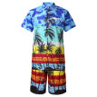 (Toponeto) Fashion Men's Casual Button Hawaii Print Beach Short Sleeve Quick Dry Suit