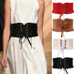 Womens Lady Stretch Buckle Waist Belt Wide Lace Elastic Corset Waistband
