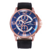 New men's three-eye digital large dial belt quartz