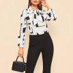 Women Polyester Blouse Office Casual Autumn New Bowknot Geometric Printing Tops