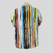 Tailored Mens Multi Color Lump Chest Pocket Short Sleeve Round Hem Loose Shirts Blouse