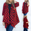Roseonmyhand Womens Ladies Plaid Cardigan Long Sleeve Irregular Hem Coat Parka Outerwear