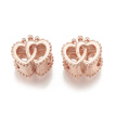 Alloy European Beads, Large Hole Beads, Hollow, Heart with Crown, Rose Gold, 11.5x11.5x8mm, Hole: 4.5mm