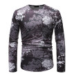 (Toponeto) Fashion Mens Needle show Autumn Long Sleeve Casual Fit Cotton Round Top Blouse