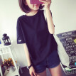 Women Round Collar Summer Solid Color Loose Short Sleeve Casual Simple Wild T-Shirt
