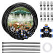 Outdoor Garden Misting Cooling Sprinkler System Kit 8M Atomization Line + 9 Brass Spray Nozzles + Brass Adapter (3/4)