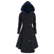 Plus Size Asymmetric Contrast Hooded Skirted Coat Women Winter Warm Fly Coat Open Front Long Blazer