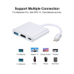 USB 3.1 Type-C to USB 3.0/ HD/ Type-C HUB USB-C 3-in-1 Adapter Dongle Dock Cable for Macbook Pro, Dell XPS 13