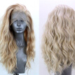 "24"" Natural Wavy Wig Women Lady Golden Blonde Curly Lace Front Synthetic Hair"