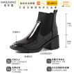 Chic Coarse-heeled Short Boots Female Joker in Autumn and Winter High-heeled Short Barrel English Style Handsome Martins Female Tr
