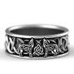 925 Sterling Silver Men Rings Norse Mythology Giant Wolf Fenrir Defend Totem Amulet Jewelry