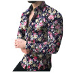 Tailored Fashion Men's Casual Printed Floral Long Sleeve Button T-shirt Top Blouse