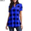 Women's V-Neck Plaid Print Short Sleeve Loose T-Shirt Color Block European and American Style Casual Polyester T-Shirts