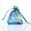 FUNNYBUNNY 100Pcs Drawstring Organza Bags Jewelry Favor Pouches with Coralline Print for Gift,Wedding,Party,Festival ,Blue