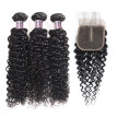 Ishow Malaysian Kinky Curly Hair With Closure 3Bundles 7A Malaysian Kinky Curly Virgin Hair With Closure 100% Human Hair