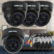 OWSOO 800TVL CCTV Security Surveillance Kit 4*Indoor Camera + 4*60ft Cable 3.6mm 24LEDs IR-CUT Night View Plug and Play (Power Plu