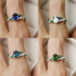 Fashion Women 925 Sterling Silver Leaves Sapphire White Topaz Gemstones Rings Size 6 7 8 9 10