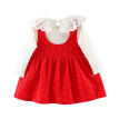 Autumn Cute Baby Girl Tutu Dress Solid Cotton Long Sleeve Lace Shirts Blouse Strap Dresses Casual Sundress