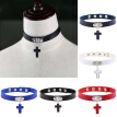Gothic Cross Pendant Faux Leather Choker Adjustable Women Necklace Gift Jewelry