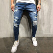 Gobestart Men's Fashion Casual Denim Straight Hole Trouser Distressed Jeans Long Pants