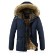 Mens Winter Warm Fur Collar Thick Parka Coat Outwear Hooded Plus Jackets Trench