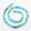Natural Crackle Agate Bead Strands, Round, Grade A, Faceted, Dyed & Heated, Turquoise, 8mm, Hole: 1mm; about 47pcs/strand, 15""
