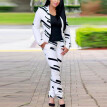 Tailored Women's Fashion Long Sleeve Pants Print Mini Suit Set