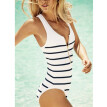 Roseonmyhand Women's Black And White Stripes With Zipper Sexy Siamese Bikini Bathing Suit