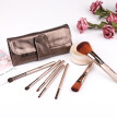 (Toponeto) 7 Pcs  Champagne Colored Synthetic Fiber Removable Makeup Bag And Brush Set