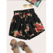 Womens High Waisted Paper Bag Tie Belt Shorts Ladies Summer Holiday Pants New
