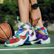 Color fashion basketball shoes men's summer breathable high-side wear-resistant non-slip sneakers men junior high school students