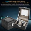 Watch Storage Box,2 Slots Watch Display Case Luxury Jewelry Organizer Woman Man Gift