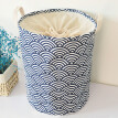 Thickened Large Drawstring Laundry Waterproof Cotton Fabric Folding Laundry Hamper Bucket Storage Basket