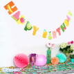 FUNNYBUNNY Tropical Fruit Happy Birthday Banner Hawaii Party Colorful Hanging Decor