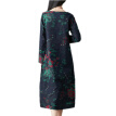 Women Dress Summer Autumn Plus Size Folk-Custom Loose Floral Printed Cotton And Linen Dresses Elegant Vintage Dress