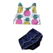 Toddler Baby Set Girls  Pineapple Printed Tank Top With Layered Lace Shorts 2 Pieces Set Summer Style Navy Blue