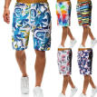 Men Summer Beach Shorts Multi-color Elastic Swim Trunks Graffiti Style Casual Loose Short Pants