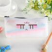 (Toponeto) Simple Jelly  Pen Pencil Case Cosmetic Bag Travel Makeup Bag High Capacity