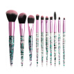 10pcs Crystal Sequins Eye Makeup Brushes Kit Foundation Brush Blush Concealer Brush Lip Eyeshadow Eyebrow Brush Kit