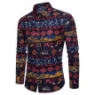 Tailored Men Casual Printing Vintage Slim Long Sleeve Dress Shirt Blouse Tops