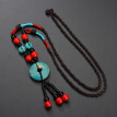 New Bohemia Natural Red Green Turquoises Flower Sweater Chain Necklaces For Women Retro Wood Stone Beads Tassel Pendant Necklace
