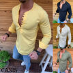 Men's Linen Long Sleeve Summer Solid Shirts Casual Loose Dress Soft Tops Tee