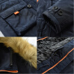 Mens Hooded Long Coat Winter Warm Thick Hooded Fur Collar Jacket Outwear Parka